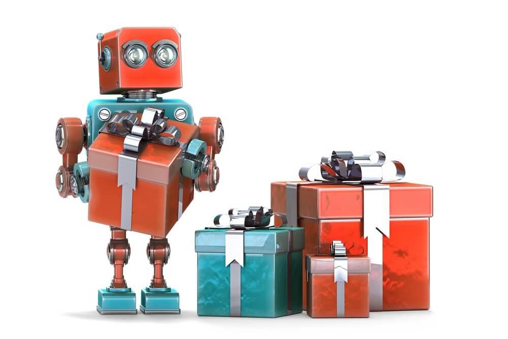 робот с коробками счастья