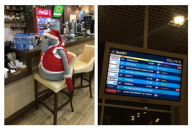 ждун и табло в аэропорту